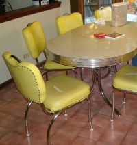RETRO 50'S STYLE CHROME DINETTE TABLE & 6 CHAIRS - W/ LEAF ...