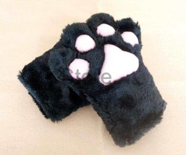 Anime Cosplay Party Costume Cat Plush Paw Claw Gloves Pair