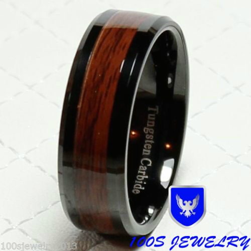 8mm Mens Tungsten Carbide Red Wood Inlay Black Plat