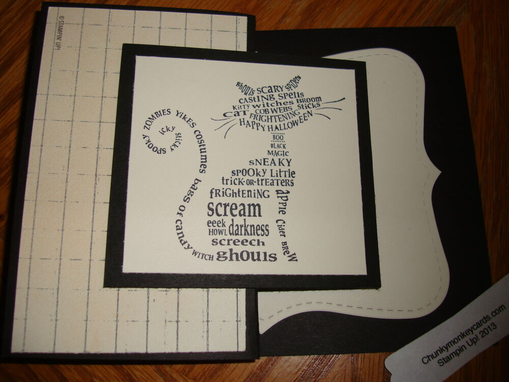 "Stampin Up ""Cat Halloween"" Homemade Greeting Card EBay"