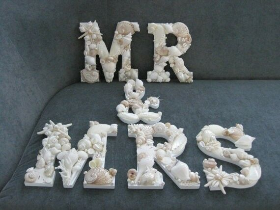 """Shell Letters, Beach Decor """"MR And MRS"""" Shell Letters Sign"""