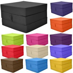 Fold Out Chair Bed Kids Folding With Shade Cover Adult Cube Guest Z Stool Single Futon Chairbed Pouffe Gilda | Ebay