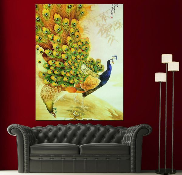 Japanese Peacock Painting Canvas Print Wall Art