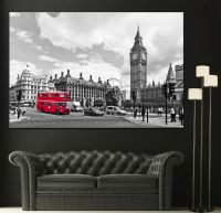 Canvas Vintage Red London Bus Home Wall Prints Fine Art ...