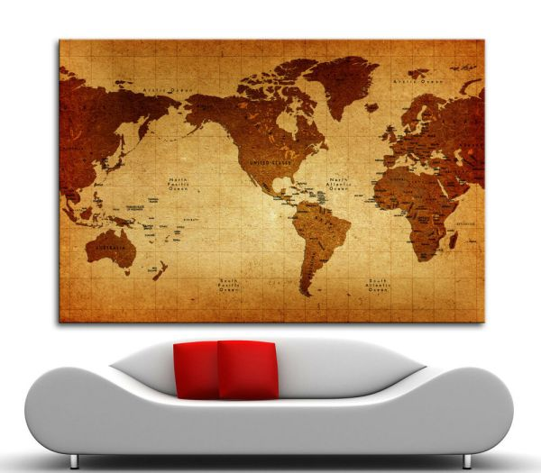 Canvas Giclee Home Wall Prints Vintage World Map Print