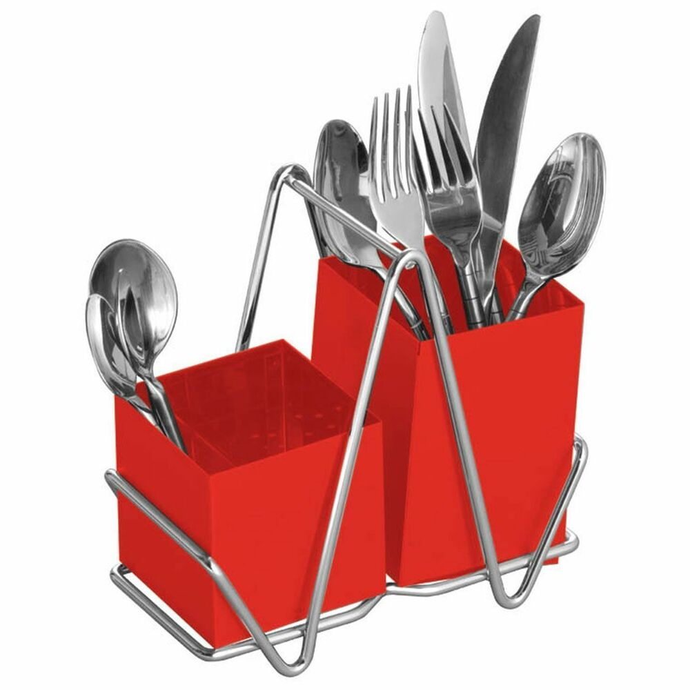 kitchen utensil caddy oil rubbed bronze hardware cutlery rack /holder 2 compartment red drainer stainless ...