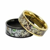 TITANIUM His & Hers REAL OAK Camo Wedding Rings Camouflage ...