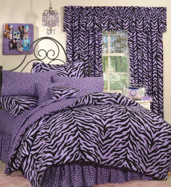 Purple Zebra Leopard - Safari Print 6 Pc Extra Long Twin