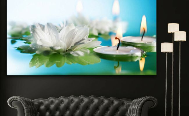 Wall Art Canvas Print Flowers Candles Spa Zen Colorful