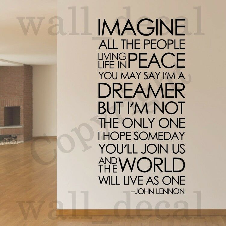 Imagine John Lennon The Beatles Removable Wall Decal Vinyl