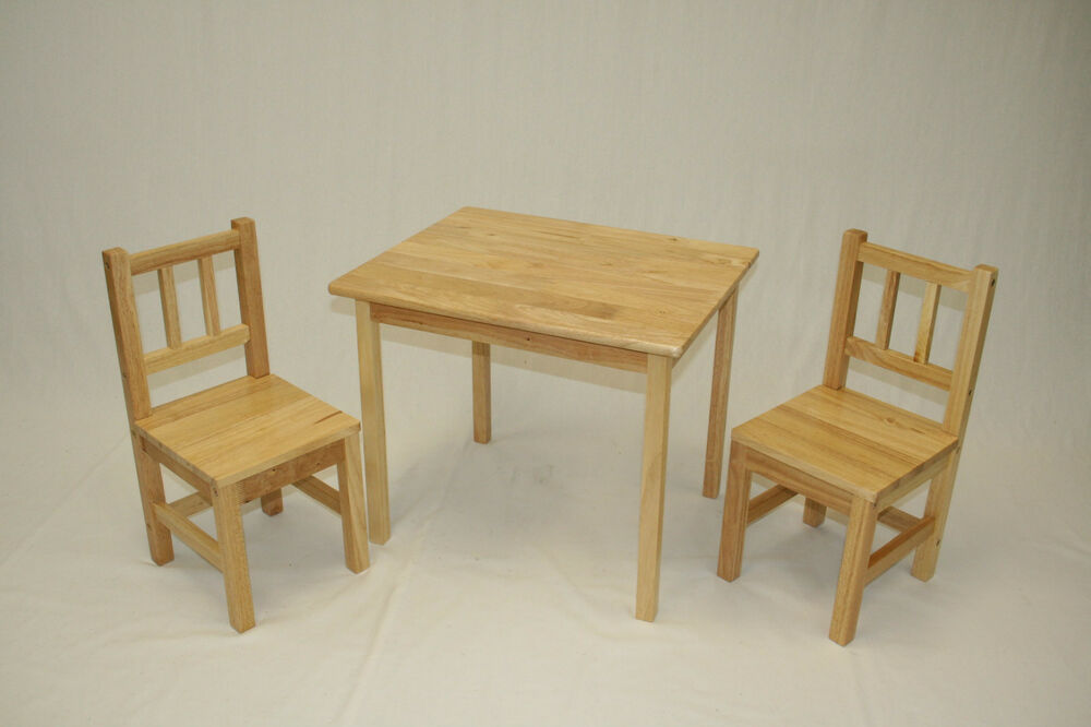 Kids Table and 2 Chairs Set Solid Hard Wood  eBay