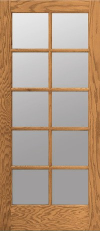 10 Lite Red Oak Clear Tempred Glass Stain Grade Solid ...