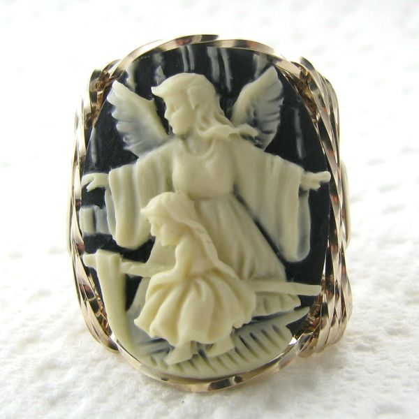 Guardian Angel Child Cameo Ring 14k Rolled Gold Jewelry