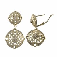 Gold Plated Sterling Silver Filigree Circle Dangle