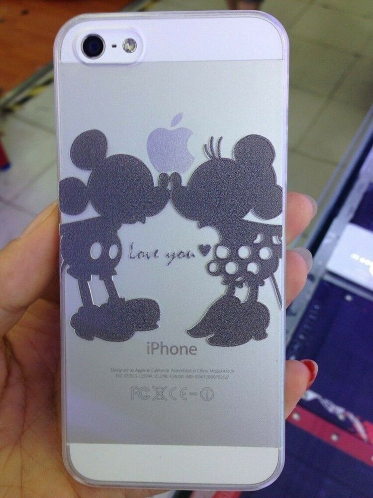 Disney Angel Mickey Minnie Mouse Kiss Transparent Case Cover For IPhone 5 5S SE EBay