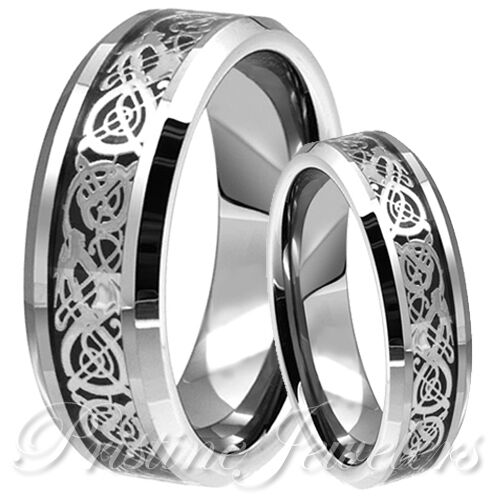 His  Her Silver Celtic Dragon Tungsten Carbide Women Ring