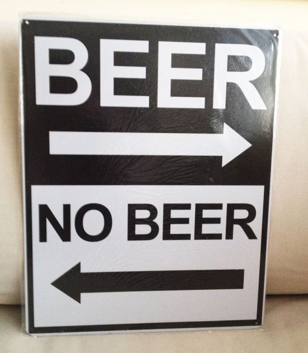 Beer Directional Tin Sign Metal Garage Workshop