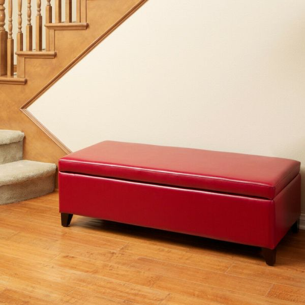 Red Leather Storage Ottoman Bench