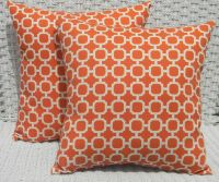 2 Pack ~ Orange Circles Decorative Indoor Outdoor Throw ...