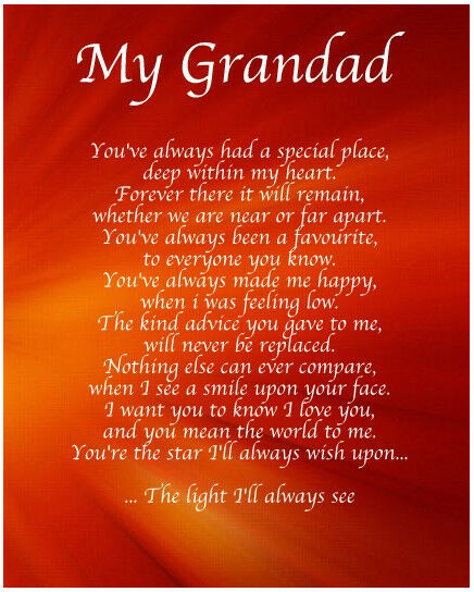 Personalised My Grandad Poem Birthday Christmas Gift