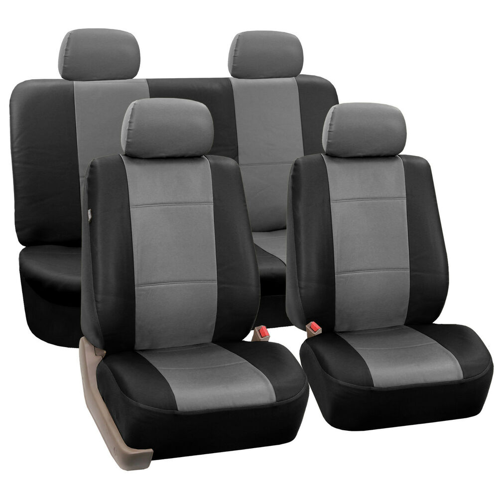 Gray  Black Car Seat Covers With PU Leather Full Set For