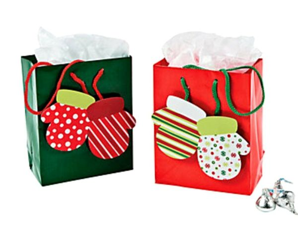 Wholesale lot 36 Small Red Green MITTENS Gift Bags