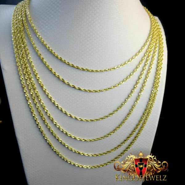 10k Men' Women' Real10k Yellow Gold Hollow Rope Chain Necklace 2 Mm 16 26