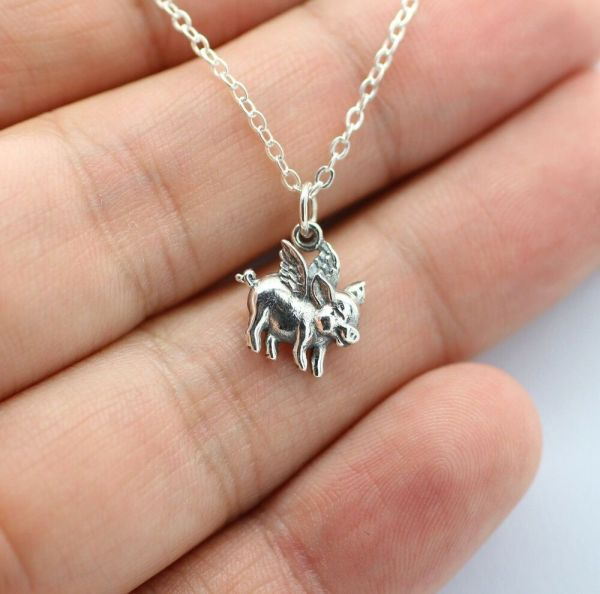 Flying Pig Charm Necklace - 925 Sterling Silver