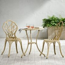 Outdoor Patio Furniture 3pc Cast Aluminum Tulip Design