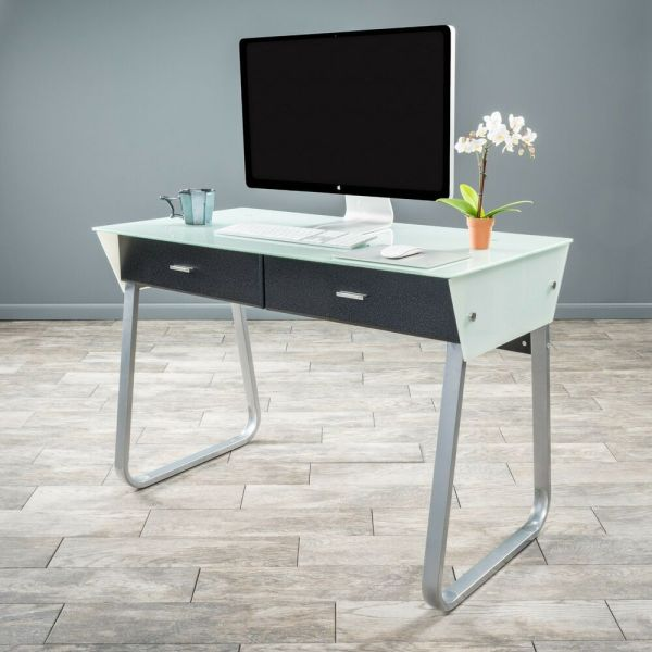 Office Furniture Modern Sleek Double Drawer White Glass