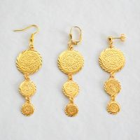 24k Gold Plated Coin Earrings Middle East Arabic Jewelry