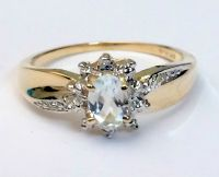 Genuine Birthstone 10k Gold Diamond Aquamarine Engagement ...