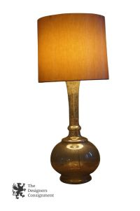 Hand Blown Contemporary Glass Table Lamp Metallic Silver ...