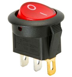 spst round rocker switch w red illumination 125vac [ 1000 x 1000 Pixel ]