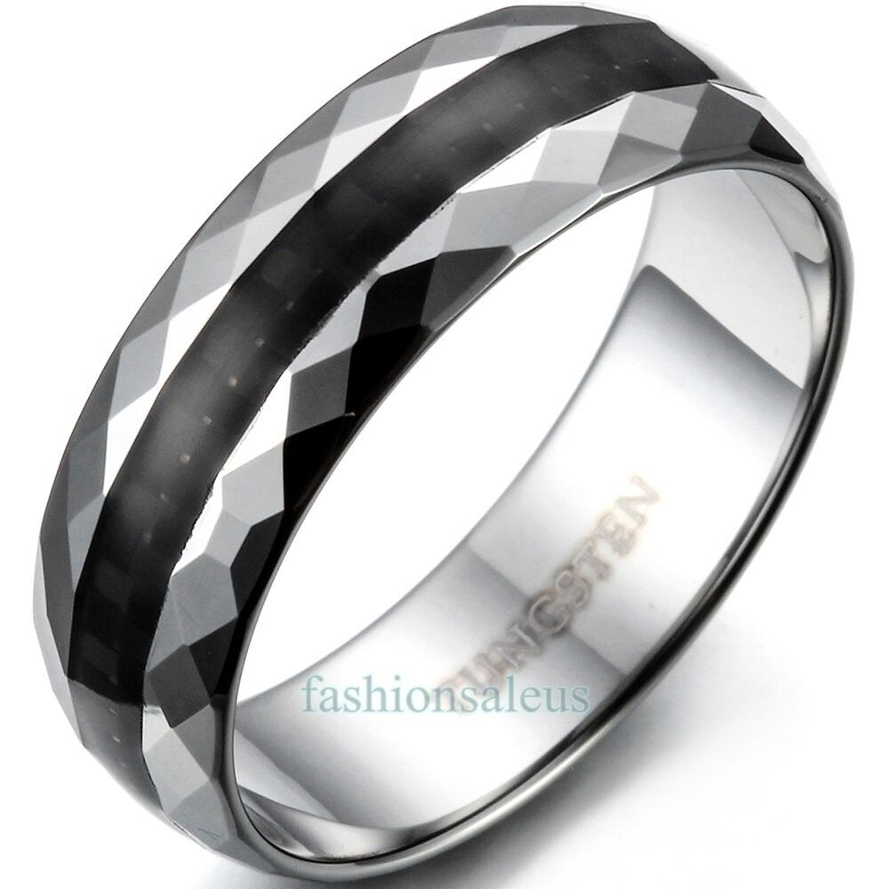 6mm Tungsten Carbide Faceted Edge Rings Mens Womens