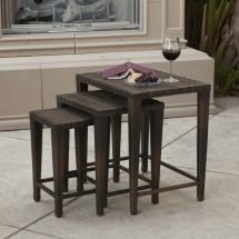 Outdoor Patio Furniture Set Of 3 Nested Wicker Side Tables