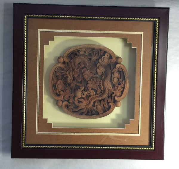 Handmade Dragon Teak Wood Carving Wall Panel Asian Carved