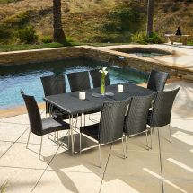 Outdoor Patio Furniture Modern Design 9pcs Black Wicker