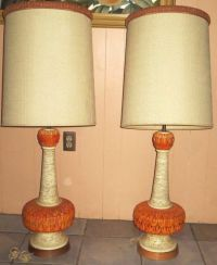 PAIR VINTAGE MIDCENTURY RETRO FAIP ORANGE CREAM CHALK