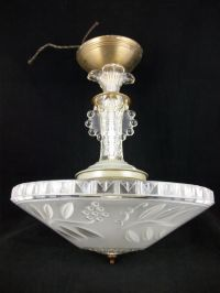 Vintage 30s Art Deco Chandelier Ceiling Light Fixture ...