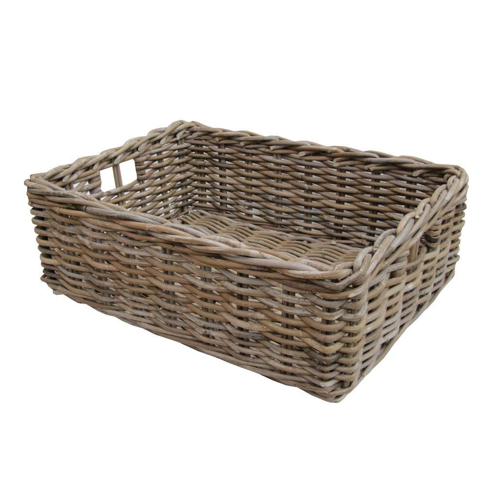 Small Wicker Hamper Rectangular Wicker Grey & Buff Rattan Storage Baskets