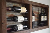 8 bottle Barn wood with Tin backing wine rack