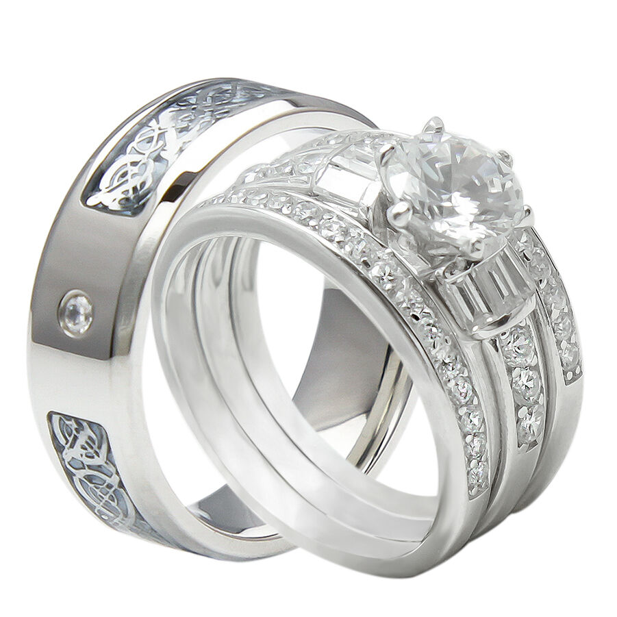 4PCS His And Hers Tungsten 925 Sterling Silver Wedding Bridal Matching Ring Set  eBay