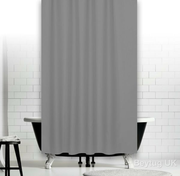 Plain Grey Fabric Shower Curtain In 3 Sizes Extra Long Wide Narrow Width