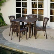 Outdoor Patio Furniture 5pc -weather Brown Wicker
