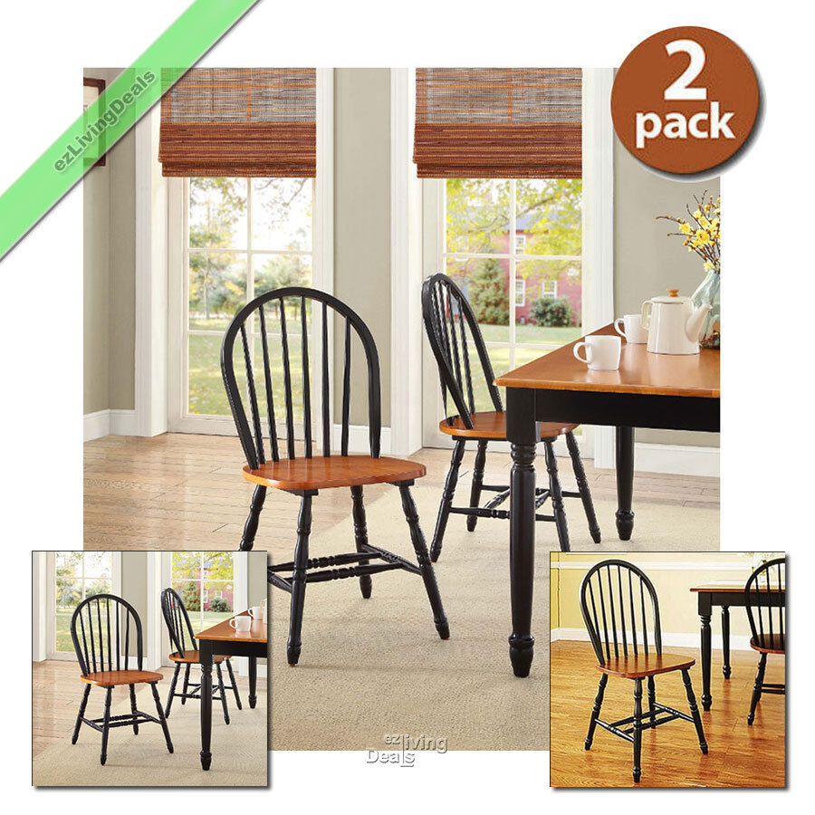 Country Dining Room Chairs Dining Room Chairs Set Of 2 Farmhouse Wood Country Kitchen Windsor Black Oak Ebay