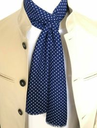 Navy Blue Silk Polka Dot Mod Scarf by SUPERNOVA SCARVES