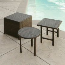 Outdoor Patio Furniture 3pc Brown Wicker Side Table Set