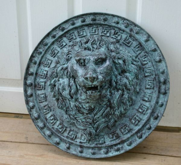 "18"" Real Bronze Lion Fountain Spout Garden Sculpture Wall"