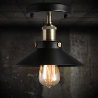 Vintage Black Ceiling Mount Light Chandelier Edison Lamp ...